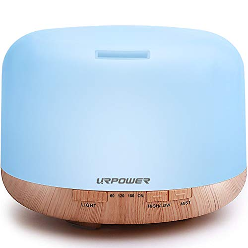 URPOWER 500ml Aromatherapy Essential Oil Diffuser Humidifier Room Decor Lighting with 4 Timer Settings, 7 LED Color Changing Lamps and Waterless Auto Shut-Off
