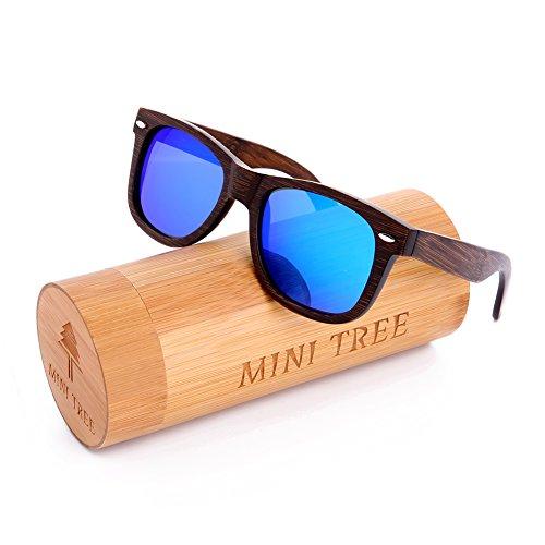 Mini Tree Polarized Handcraft Bamboo Sunglasses Vintage Shades For Men and Women (Black, Blue)