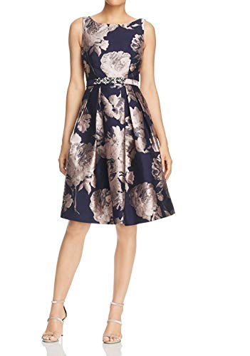 Eliza J Womens Floral Jacquard Belted Sheath Dress Blue 14
