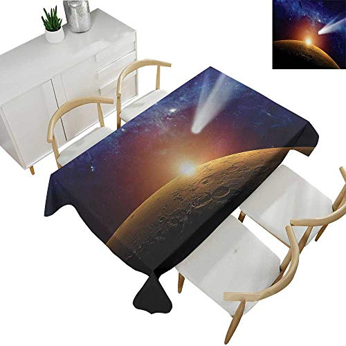 Outer Space,Tablecloth Factory,Comet Tail Approaching Planet Mars Fantastic Cosmos Dark Solar System Scenery,Waterproof Table Cover for Kitchen 54