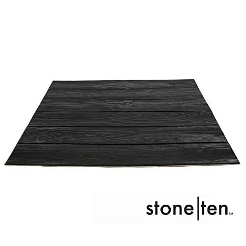 Faux Wood Wall Panels - Peel and Stick Foam Wood Paneling - 3D Wall Panels for Fake Wood Wall - 3D Wood Wallpaper - Self Adhesive Wood Look Wall Panels - (Black 20 Pack)
