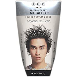 Ice Hair - Spiker Colorz Metallix Colored Styling Glue Psycho Silver 1.69 FL OZ