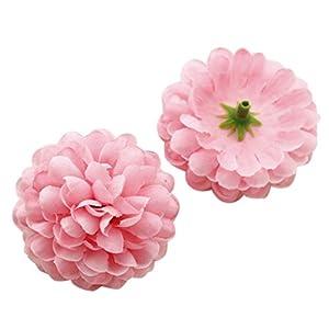 SODIAL(R) 30pcs Daisy Artificial Fake flower Silk Spherical Heads Bulk Wedding Party Decor,red 22