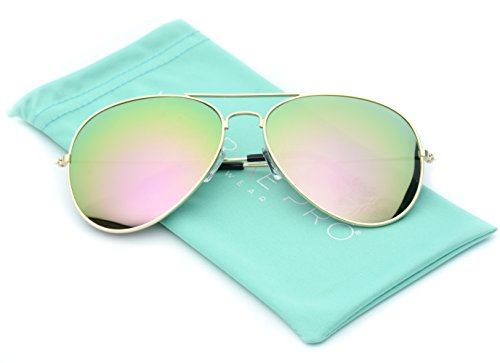 Aviator+Full+Silver+Mirror+Metal+Frame+Sunglasses+%28Mirror+Pink+Lens%2C+55%29