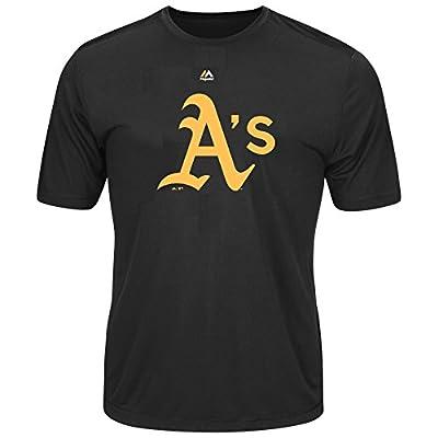 Youth MLB Geo Strike Cool Base Tee (Youth Medium 10/12, Oakland Athletics, Black)