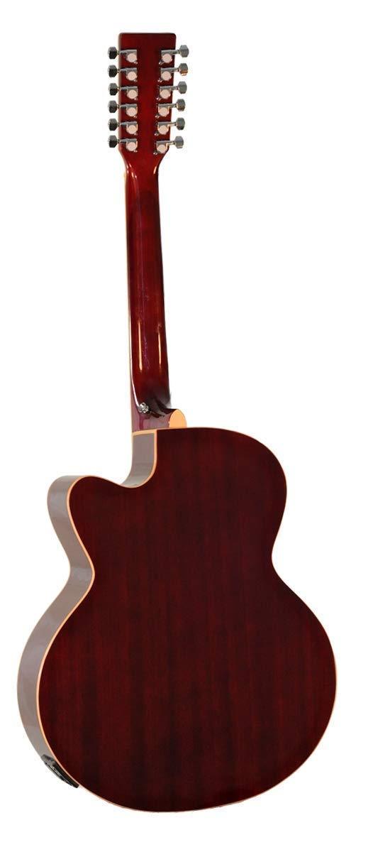 Amazon.com: 12 String Acoustic Electric Cutaway Jumbo Black Guitar ...