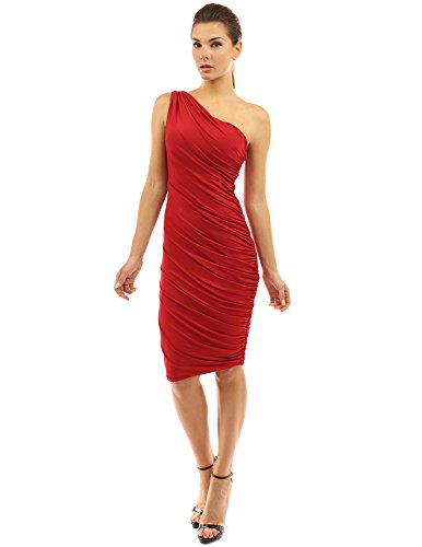 PattyBoutik Women One Shoulder Cocktail Dress (Red Small)