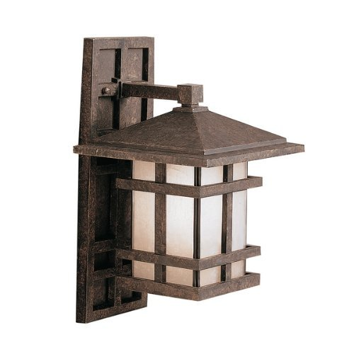 Kichler Lighting 9130AGZ Cross Creek 1-Light Outdoor Wall Lantern, Aged Bronze with Textured Linen Seedy Glass by Kichler