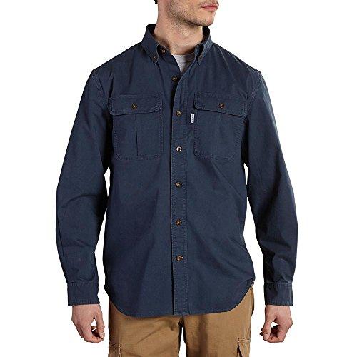 Canvas Button (Carhartt Men's Long Sleeve Solid Work Shirt, Navy, Large)