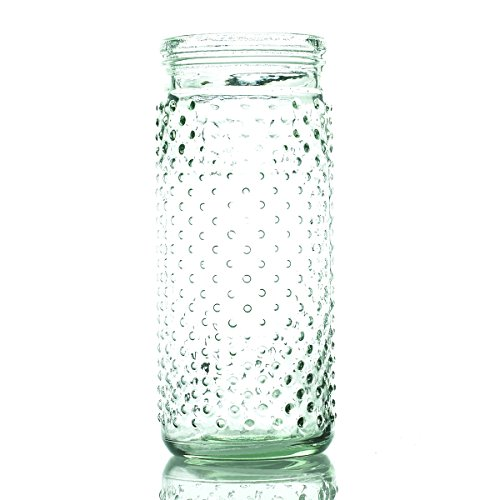 Hobnail-Jar-4x-75-Clear-with-Metal-Hanger