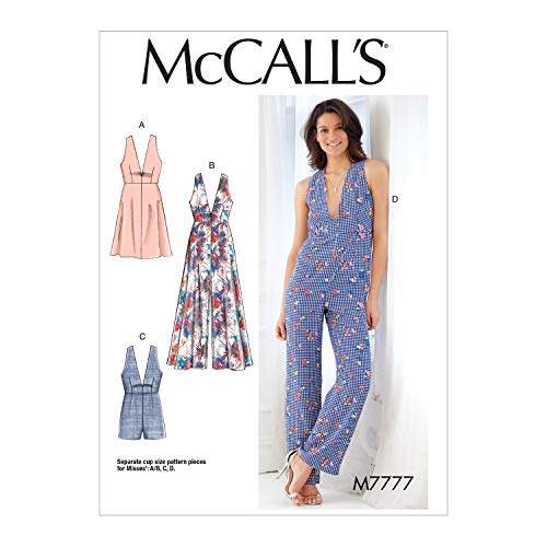 - McCall's Patterns M7777 Misses' Dresses, Romper and Jumpsuit Sewing Pattern, E5 (14-16-18-20-22), Multicolor