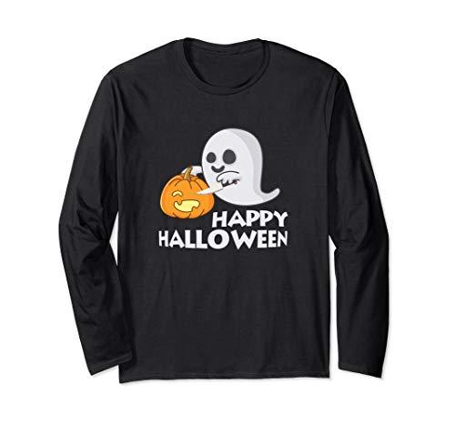 Halloween Ghost Carving a Pumpkin Long Sleeve