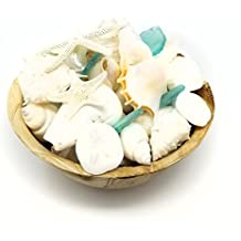 Tumbler Home White Seashells with Sea Glass - Home Decor Wedding Luxury Sea Shell Mix, Christmas or Crafts - 30+ Items In Eco Palm Leaf Bowl