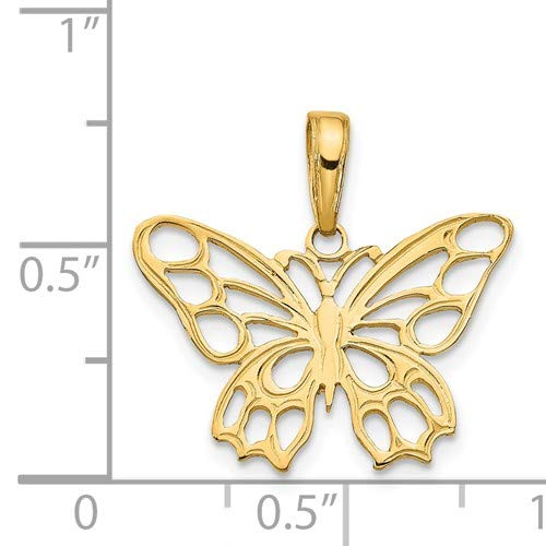 14K Yellow Gold Butterfly Cut-out Pendant from Roy Rose Jewelry