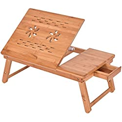 Costway Bamboo Lap Table Folding Desk Bed Tray Stand Adjustable Drawer