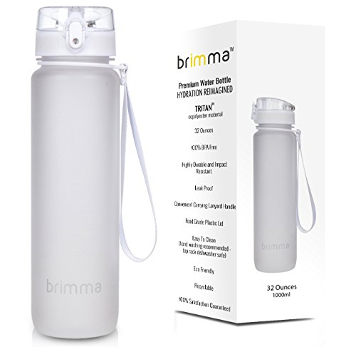Brimma Premium Sports Water Bottle with Leak Proof Flip Top Lid - Eco Friendly & BPA Free Tritan Plastic - Must Have for The Gym, Yoga, Running, Outdoors, Cycling, and Camping ()