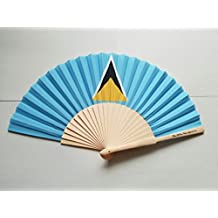 St Lucia Flag Fabric Folding Hand Fan with Bamboo Handles