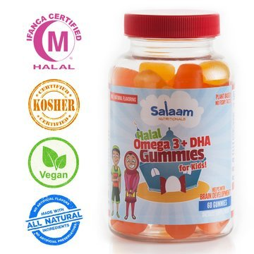 Salaam Nutritionals Halal Gummy Omega3+DHA: Healthy All Natural Nutrition, Fish Free, Plant Based, Supports Optimal Brain and Immune Function, Vegan, Kosher.](Kosher Fish Gelatin)