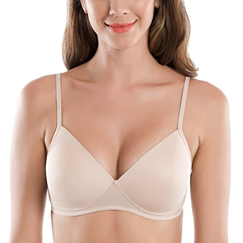 (DELIMIRA Women's Smooth Wire Free Lightly Padded Triangle Contour T-Shirt Bra Beige 32B)