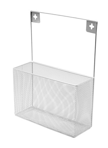 Ybm Home Silver Mesh Wall Mount Pantry Caddy  Wrap Rack Size 10 1 2 X 14 1 2 X 4 Inches 1154  1