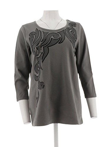 Bob Mackie Embroidered Pull-Over Knit Top Sequins A284356, Charcoal, (Bob Mackie Embroidered Blouse)