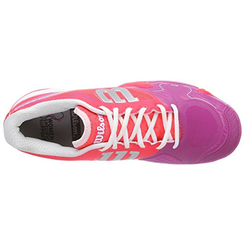 Wilson Rush Pro 2.0 W, Zapatillas de Tenis Unisex Adulto Rojo / Rosa / Blanco