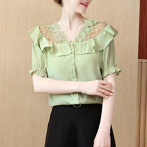 Ximandi Womens Summer Fashion Strap O-Neck Short Sleeve Shirt Blouse Casual Korean Style Tops