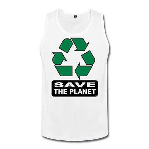 Price comparison product image TAUYOP Men's Save The Planet Recycle Tank Top White S