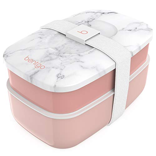 Bentgo Classic - All-in-One Stackable Bento Lunch Box Container - Modern Bento-Style Design Includes 2 Stackable Containers, Built-in Plastic Utensil Set, and Nylon Sealing Strap (Blush Marble) best to buy