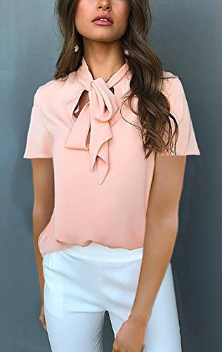 Onlyoustyle Couleur Blouses Shirts Tops Irregulier Chemisiers Courtes Casual Bandage Haut t V Femme Manches Col T Mode Rose Unie rfnr8HP1A