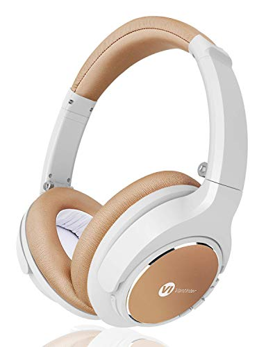 VantInter H1 Wireless Wired PC Headphones Over Ear with Microphone, White Bluetooth Headsets for Laptop Tablet, Fold To Storage, 20 Hrs Playing Time