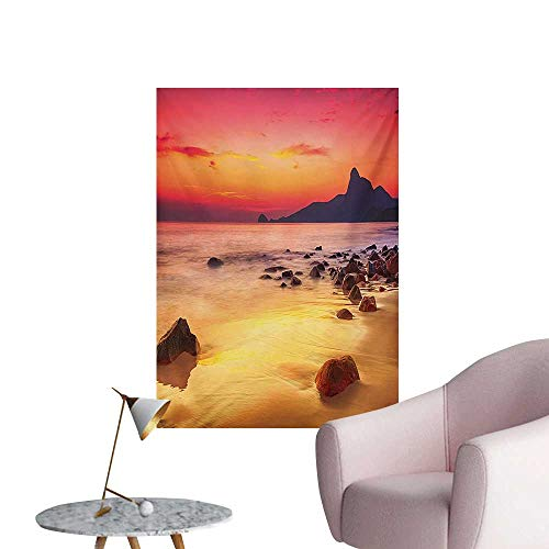 Anzhutwelve Ocean Art Decor Decals Stickers Digital Photo of Mystical Sunrise Over The Sea with Stones and Cliffs Idyllic SpotOrange Yellow W20 xL28 Space Poster -