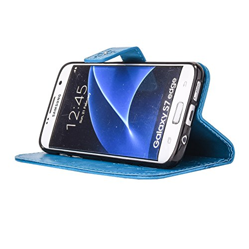 sycode para Samsung Galaxy S7 Edge, Funda Estilo Cartera para Galaxy S7 Edge, Funda con tapa para Samsung Galaxy S7 Edge, en relieve de flores y mariposas DIY Premium piel sintética lujo Bling purpuri Diamond Butterfly Flower Blue