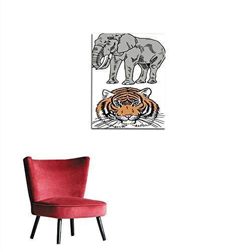 longbuyer Corridor/Indoor/Living Room Elephant and Tiger Mural 16