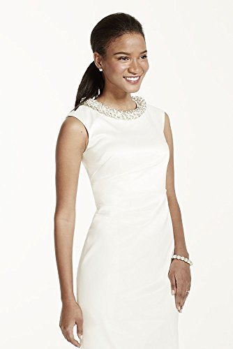 Stretch Satin Cap Sleeve Pearl and