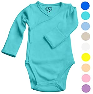 Baby Onesie Organic Cotton - Kimono Style with Side Snaps and Gloved Sleeve