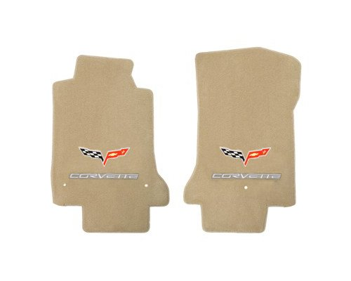 (2005-2006 C6 Corvette Cashmere Tan Floor Mats - Crossed Flags & Silver CORVETTE Logo)