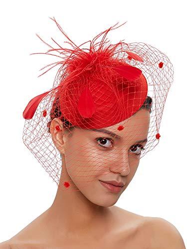 Fascinators Hats 20s 50s Vintage Hat for Women Pillbox Hat Wedding Hat with Veil Costume Headwear