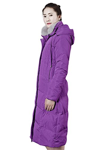 XIAOLV88 Women's Hooded Warm Fox Fur Collar Duck Long Down Coat Jacket Purple
