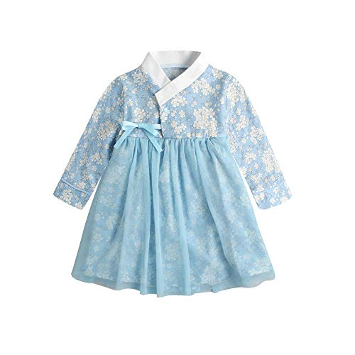 Baby Girl Korean Clothes Long Sleeve Romper Dress Traditional Clothing Hanbok Dress for Toddler Infant Baby Girl Baby 0-24 Months (Blue, 15-24 Months)]()