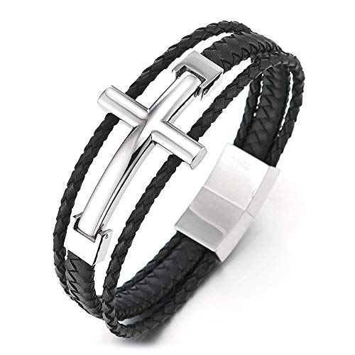 COOLSTEELANDBEYOND Men Stainless Steel Horizontal Sideway Lateral Cross Three-Row Black Braided Leather Bangle Bracelet