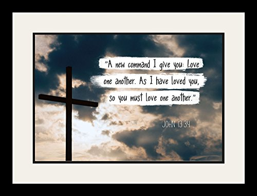 John 13:34 Love one another. - Christian Poster, Print, Picture or Framed Wall Art Decor - Bible Verse Collection - Religious Gift For Holidays Christmas Baptism (19x25 Framed) by WeSellPhotos