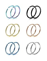 Subiceto 6 Pairs Non Pierced Stainless Steel Fake Nose Ring Septum Lip Helix Cartilage Tragus Ear Clip Hoop Rings 20G