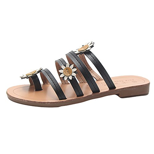 MOIKA Damen Sommer Elegant Böhmen Blumen Schuhe Flache Sandalen Schuhe Mode Strandschuhe Zehentrenner Pantoletten Riemchensandalen Schwarz