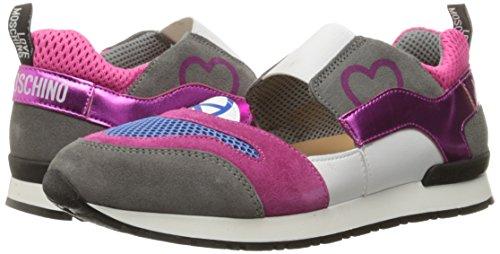 Love Moschino Women's Cut-Out Logo Running Shoe Fashion Sneaker, Fuchsia/Grey/Blue, 37 EU/7 M US by Love Moschino (Image #6)