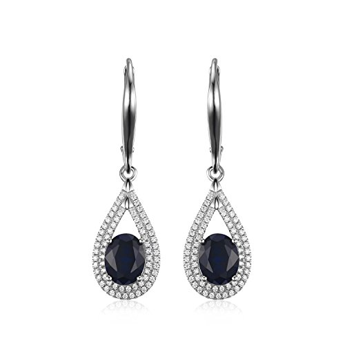 JewelryPalace Luxe 3.88ct Saphir de Synthese Dangle Boucle D'Oreille en Argent 925