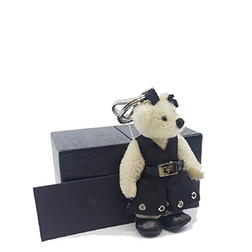 (Prada Trick Orsetto Marlene Teddy Bear Keyring Riveted Dress and Belt Bianco 1TO027)