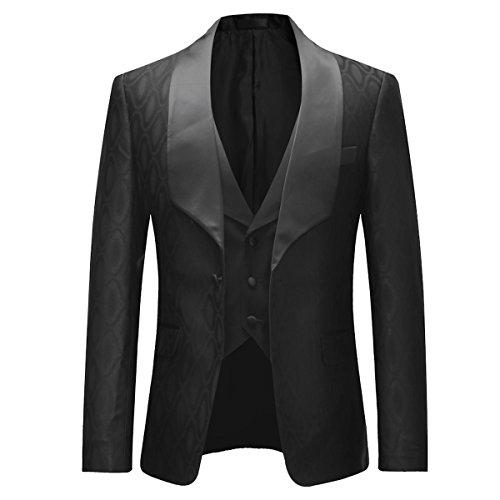 Uomo Slim 3 Abito Pantaloni Wedding Pranzo Bavero Per Giacca Abiti Da Gilet Pezzi Scialle Nero Fit pgwqx5