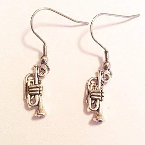 Trumpet earrings - nickel free wires - musicians - hypoallergenic