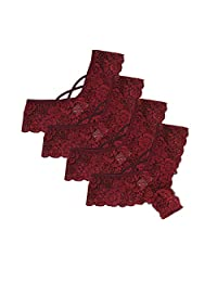 Mikkar 4PC Women Lace Flowers Underwear Panties G-String Lingerie Thongs